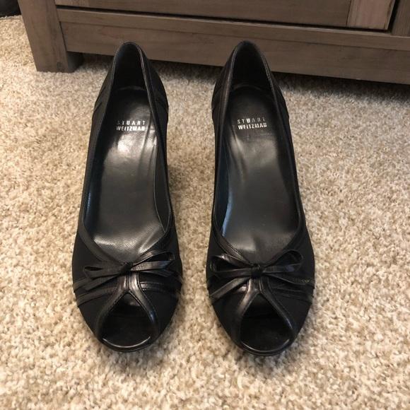 Stuart Weitzman Black Peep-toe Wedge - 9.5M